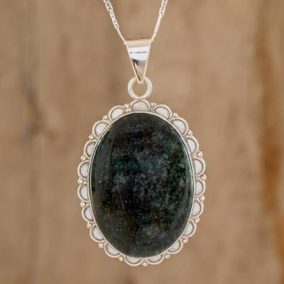 Jade pendant necklace, 'Princess of the Forest' - Central American Sterling Silver Jade Pendant Necklace