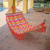 Cotton hammock, 'Carnaval Confetti' (single) - Fair Trade Central American Cotton Hammock (Single)