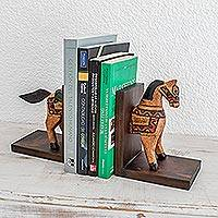 Pinewood bookends, 'Little Horse of Knowledge' (pair)