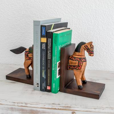 Pinewood bookends, 'Little Horse of Knowledge' (pair) - Pinewood bookends (Pair)