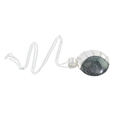 Jade pendant necklace, 'Place of the Moon' - Hand Crafted Sterling Silver Pendant Jade Necklace