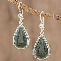 Jade dangle earrings, 'Dark Green Sacred Quetzal' - Unique Jade and Sterling Silver Earrings from Guatemala