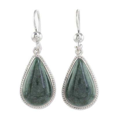 Jade dangle earrings, 'Dark Green Sacred Quetzal' - Unique Sterling Silver Jade Dangle Earrings