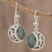 Jade dangle earrings, 'Quetzal Eclipse'