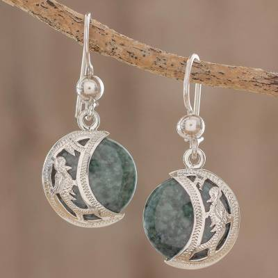 Jade dangle earrings, 'Quetzal Eclipse' - Hand Made Sterling Silver Dangle Jade Bird Earrings