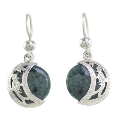 Jade dangle earrings, 'Quetzal Eclipse' - Hand Made Sterling Silver Dangle Jade Bird Earrings