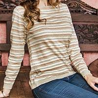 Cotton sweater, 'Horizon' - Women's Cotton Sweater with Ivory Jade Brown Stripes