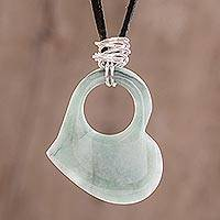 Leather and jade heart necklace, 'Heavenly Love' - Heart-Shaped Jade Pendant Necklace