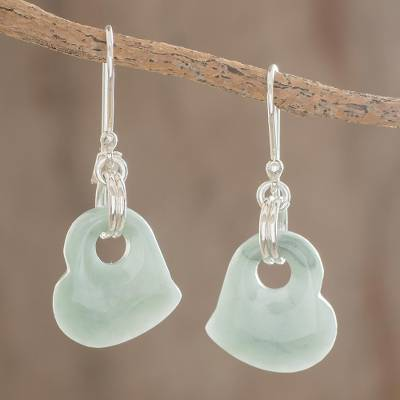 Jade heart earrings, 'Heavenly Love' - Artisan Crafted Heart Shaped Jade Dangle Earrings
