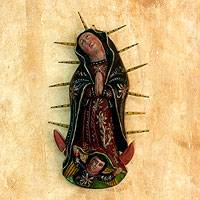 Wood sculpture, 'Beloved Virgin of Guadalupe' - Handcrafted Our Lady of Guadalupe Wood Wall Art Piece