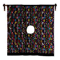 Cotton wall hanging, 'Night in Tactic' - Artisan Hand Loomed Cotton Huipil Wall Hanging