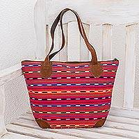 Leather accent cotton shoulder bag, 'Scarlet Maya' - Hand Made Cotton and Leather Tote Bag