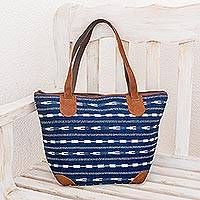 Leather accent cotton shoulder bag, 'Blue Maya' - Blue Cotton with Leather Accents Guatemalan Shoulder Bag