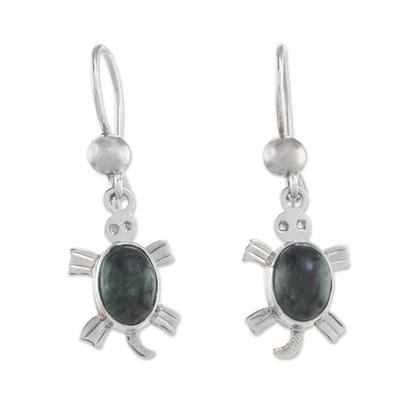 Handcrafted Sterling Silver Sea Life Dangle Jade Earrings