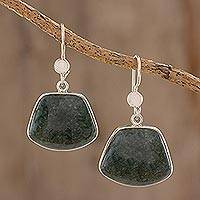 Jade dangle earrings, 'Dark Maya Quetzal' - Hand Made Sterling Silver Dangle Jade Earrings