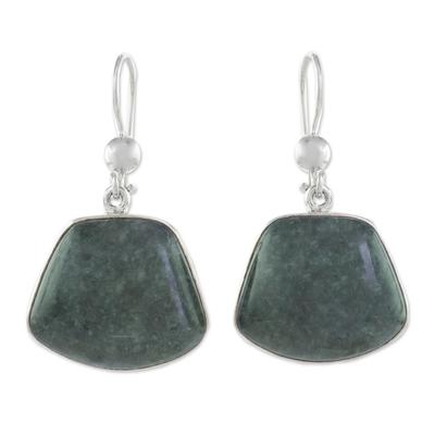 Jade dangle earrings, 'Dark Maya Quetzal' - Hand Made Sterling Silver Dangle Jade Earrings