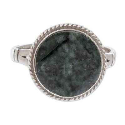 Sterling Silver Green Jade Cocktail Ring