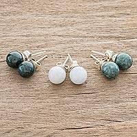 Jade stud earrings, 'Maya Moons' (set of 3) - Fair Trade Sterling Silver Jade Stud Earrings (Set of 3)