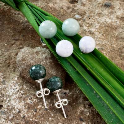 Jade stud earrings, Maya Moons (set of 3)