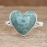 Unique Heart Shaped Sterling Silver Jade Cocktail Ring, 'Love Immemorial'