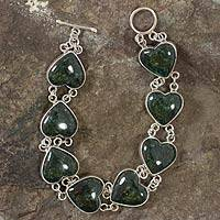 Jade heart bracelet, 'Love Immemorial' - Heart Shaped Jade Sterling Silver Link Bracelet