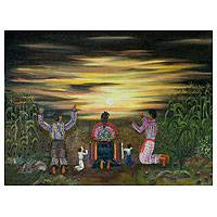 'New Dawn' (2011) - Central American Naif Oil Painting