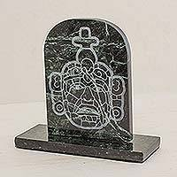 Marble sculpture, 'Maya Mask from Tikal' - Marble sculpture