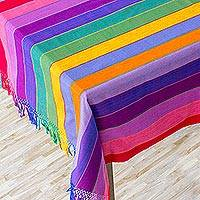 Cotton tablecloth, 'Colors of Life' - Handcrafted Central American Cotton Color Stripe Table Cloth