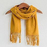 Cotton scarf, 'Maya Maize' - Handcrafted Cotton Solid Scarf with Fringe