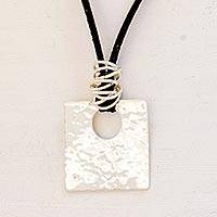 Leather pendant necklace, 'Jocotenango Glow' - Artisan Crafted Modern Sterling Silver Pendant Necklace