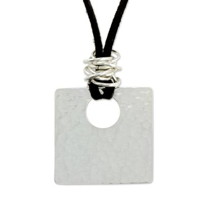 Leather pendant necklace, 'Jocotenango Glow' - Artisan Crafted Modern Sterling Silver Pendant Necklace