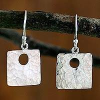 Sterling silver dangle earrings, 'Jocotenango Glow' - Fair Trade Modern Sterling Silver Dangle Earrings