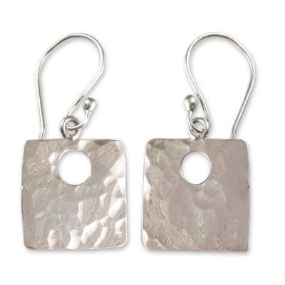 Sterling silver dangle earrings, 'Jocotenango Glow' - Fair Trade Modern Sterling Silver Dangle Earrings