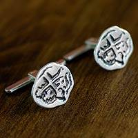 Sterling silver cufflinks, 'Macaco' - Sterling silver cufflinks