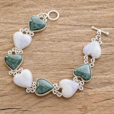 Jade heart bracelet, 'Soul Mates' - Handcrafted Heart Shaped Sterling Silver Link Jade Bracelet