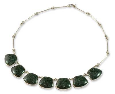 Jade pendant necklace, 'Maya Legends' - Central American Sterling Silver Jade Necklace