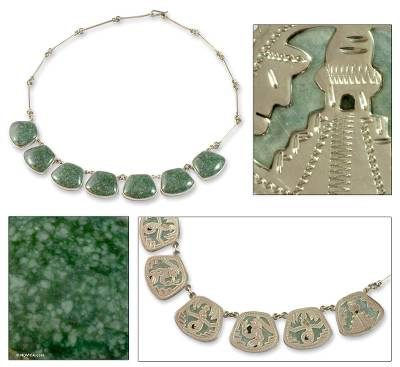 Jade waterfall necklace, 'Maya Legends in Light Green' - Handcrafted Sterling Silver Jade Necklace