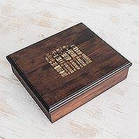 Pinewood tea box, 'Dresden Codex' (large) - Collectible Guatemala Handcrafted Wood Tea Box (Large)