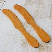 Cedar spreader knives, 'Forest Sigh' (pair) - Handcrafted Cedar Wood Spreader Knives (Pair)