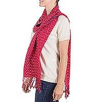Cotton scarf, 'Scarlet Maya' - Bright Red Hand Woven Cotton Scarf from Guatemala