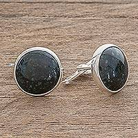 Sterling silver cufflinks, 'Calendar Moon'
