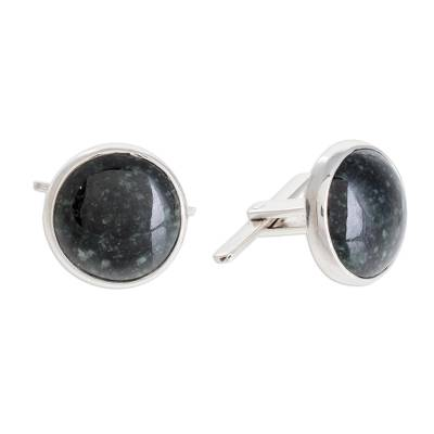 Sterling silver cufflinks, 'Calendar Moon' - Artisan Crafted Men's Sterling Silver Jade Cufflinks