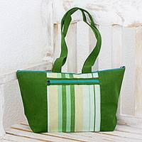 Cotton tote handbag, 'Green Apple' - Cotton tote handbag