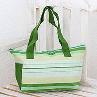 Cotton tote handbag, 'Whispering Pine' - Cotton tote handbag