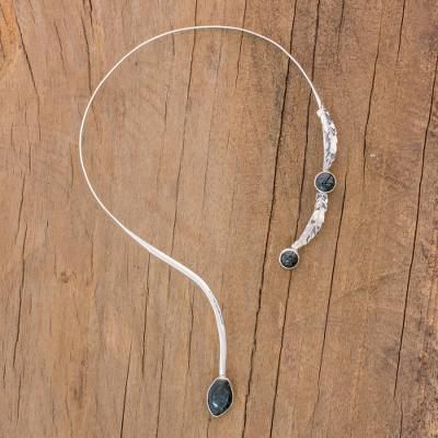 Jade wrap necklace, 'Kan' - Central American Modern Sterling Silver Jade Necklace