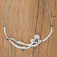 Jade flower necklace, 'Ee' - Jade flower necklace