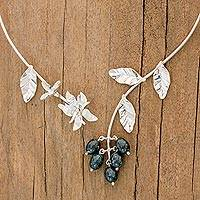Jade flower wrap necklace, 'Aq'ab'al' - Artisan Crafted Floral Sterling Silver Jade Wrap Necklace