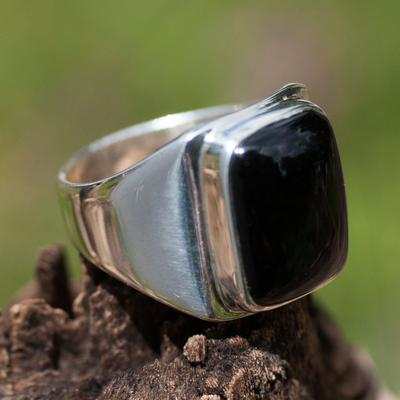 Men's black jade ring, 'Art of Life' - Men's Unique Good Luck Sterling Silver Signet Jade Ring