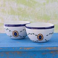 Ceramic bowls 'Margarita' (pair) - Set of 2 Hand Painted Floral Ceramic Bowls