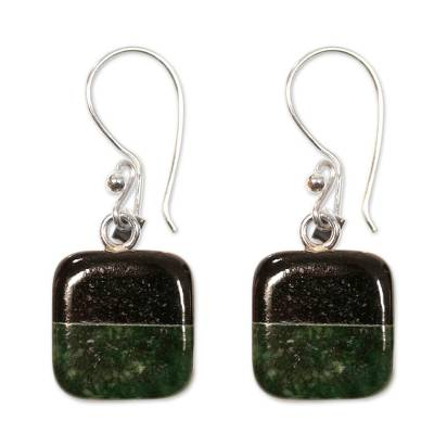 Jade dangle earrings, 'Duality' - Fair Trade Sterling Silver Jade Dangle Earrings